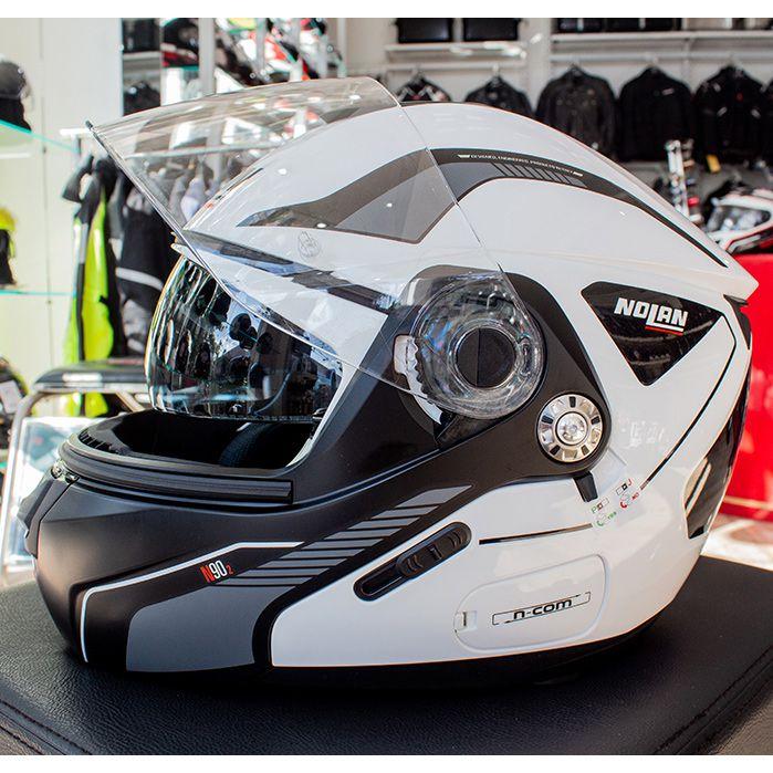Capacete Nolan N90 Straton Branco Escamoteável C/ Viseira Solar Interna (GANHE BALACLAVA NOLAN)  - Nova Suzuki Motos e Acessórios