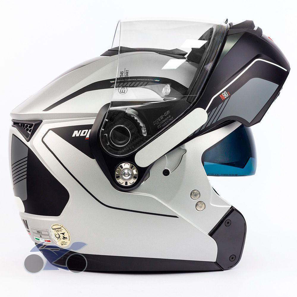 Capacete Nolan N90 Straton Prata Escamoteável C/ Viseira Solar Interna (GANHE BALACLAVA NOLAN)   - Nova Suzuki Motos e Acessórios