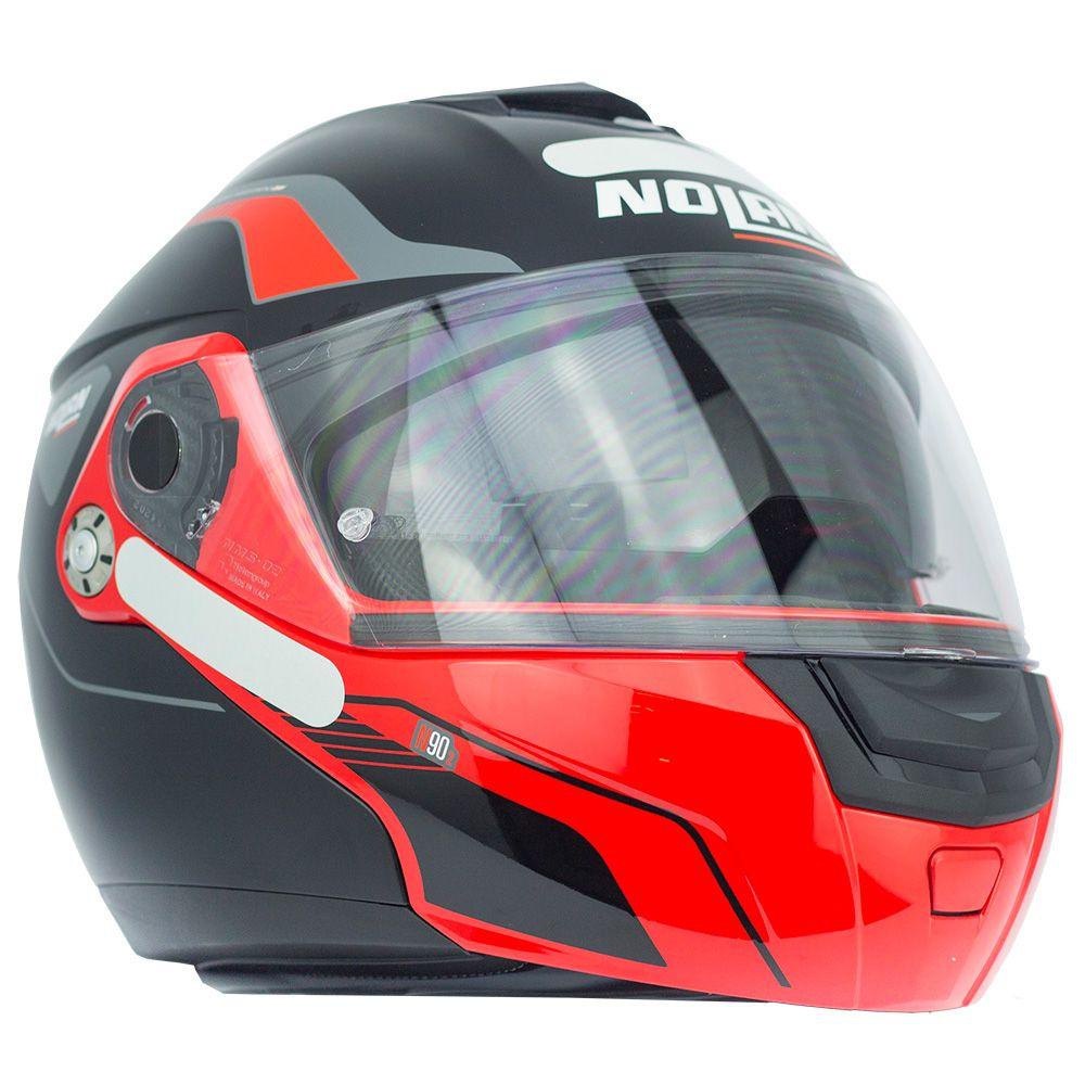 Capacete Nolan N90 Straton Preto e Vermelho - Escamoteável C/ Viseira Solar Interna   - Nova Suzuki Motos e Acessórios