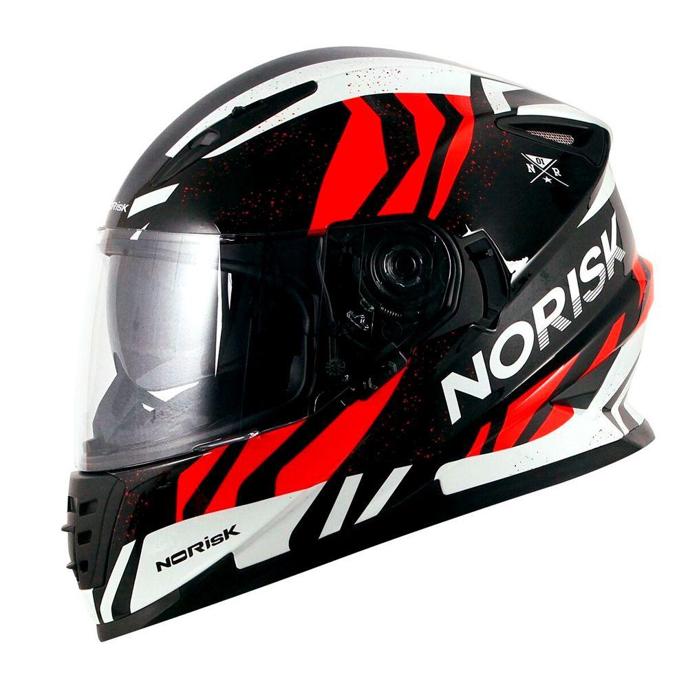 Capacete Norisk FF302 Jungle - Black/White/Red  - Nova Suzuki Motos e Acessórios