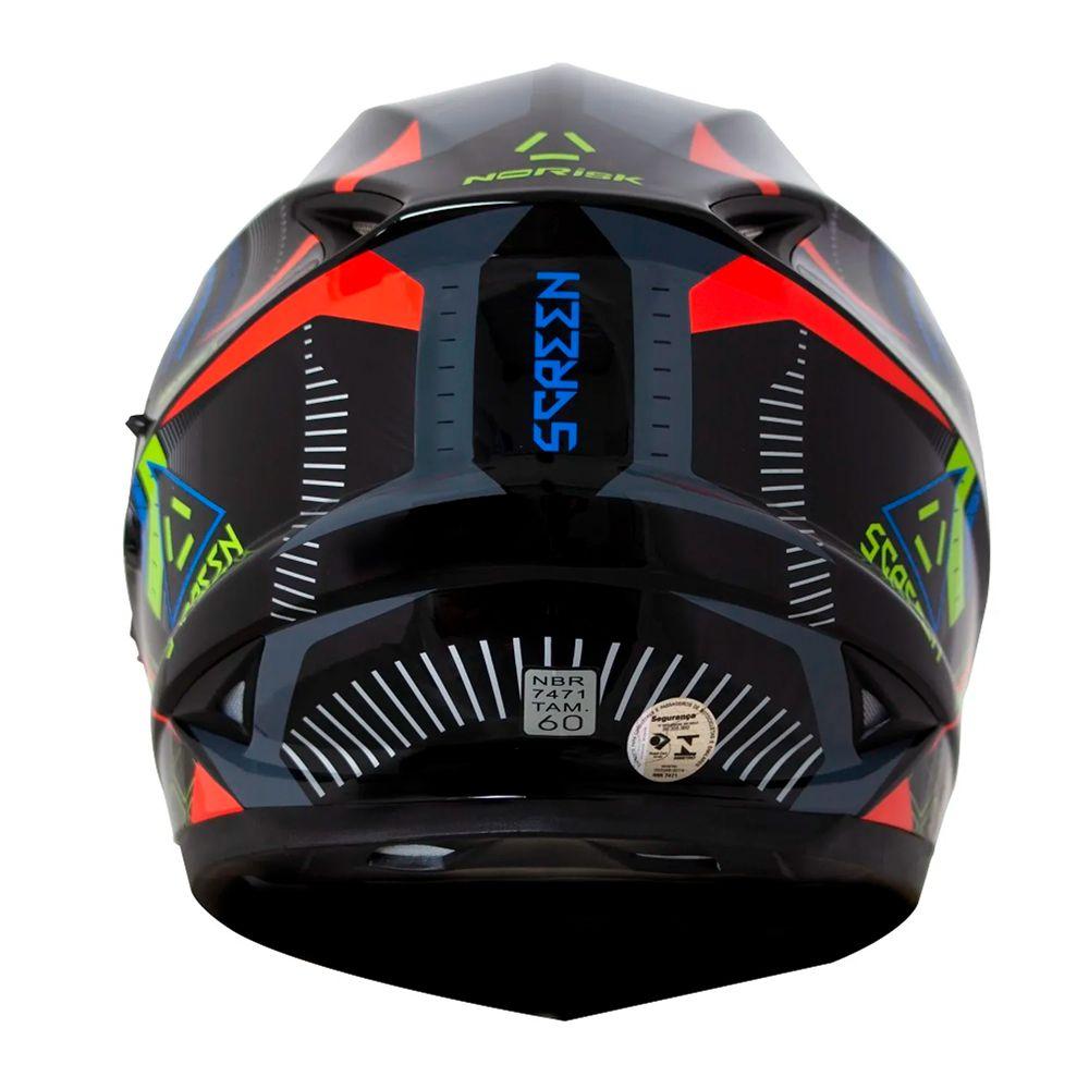 Capacete Norisk FF302 Screen - Black/Green/Orange/Blue  - Nova Suzuki Motos e Acessórios