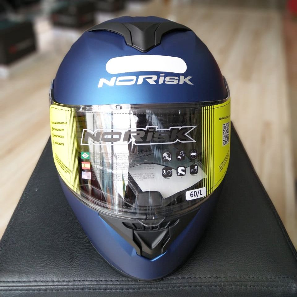 Capacete Norisk FF345 Force Monocolor Azul Fosco Escamoteável/Articulado  - Nova Suzuki Motos e Acessórios