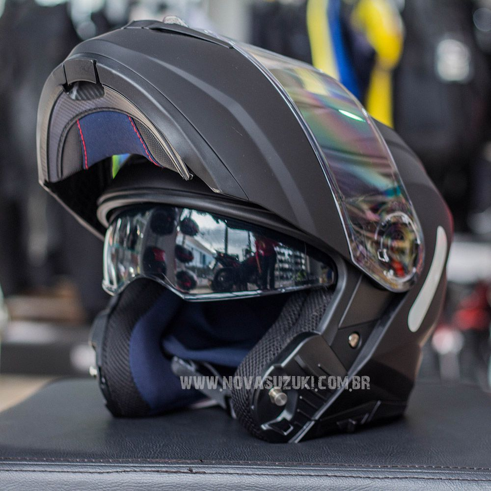 Capacete Norisk FF345 Force Monocolor Matte Black Escamoteável/Articulado  - Nova Suzuki Motos e Acessórios
