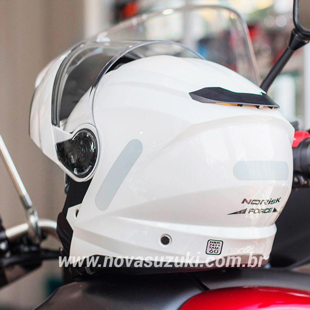 Capacete Norisk FF345 Force Monocolor Branco Escamoteável/Articulado  - Nova Suzuki Motos e Acessórios