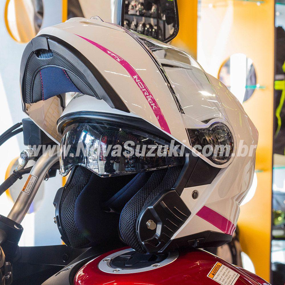Capacete Norisk FF345 Force Simplicity Branco/Rosa Escamoteável/Articulado  - Nova Suzuki Motos e Acessórios