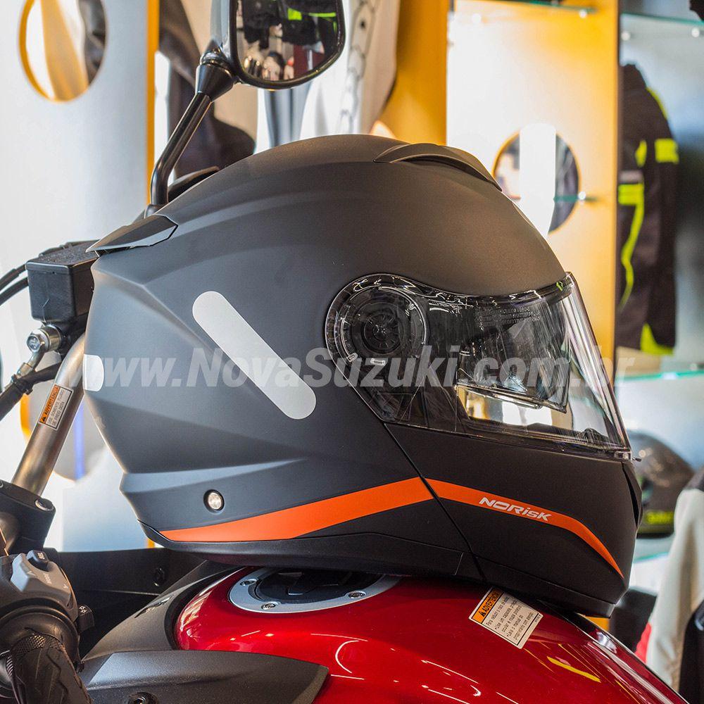 Capacete Norisk FF345 Force Simplicity Preto/Laranja Escamoteável/Articulado  - Nova Suzuki Motos e Acessórios