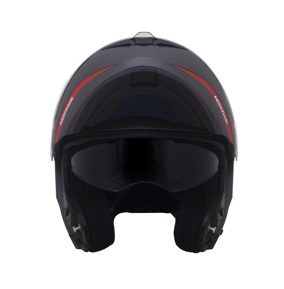 Capacete Norisk FF345 Force Simplicity Titanium/Vermelho Escamoteável/Articulado  - Nova Suzuki Motos e Acessórios