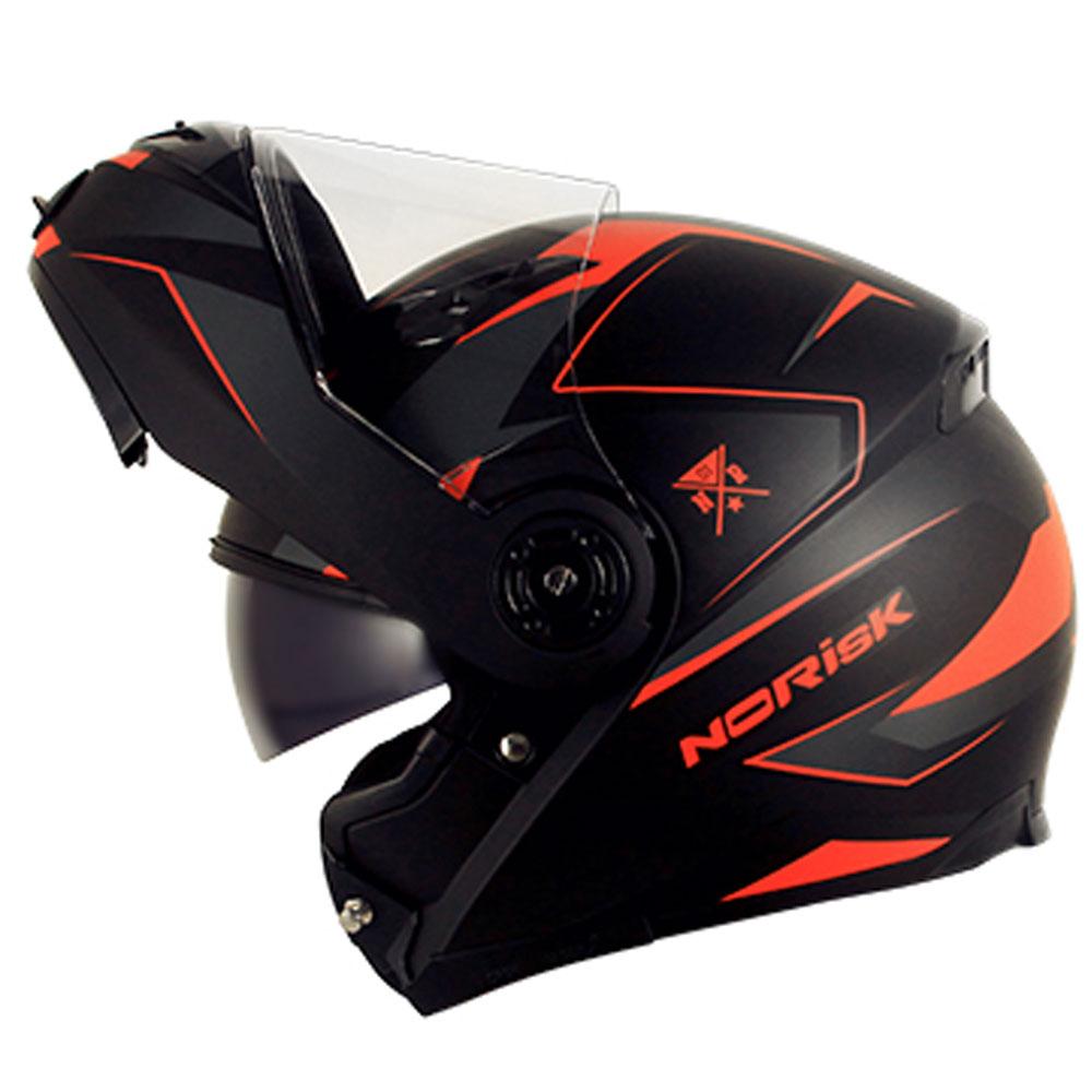 e8bc0f29fd06e Capacete NoRisk FF370 Stripe Preto Laranja Escamoteável - COM VÍDEO - Nova  Suzuki Motos e ...