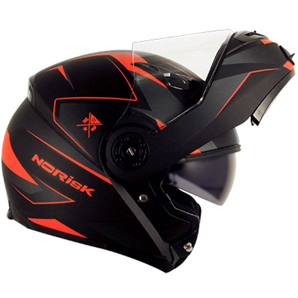 Capacete NoRisk FF370 Stripe Preto/Laranja Escamoteável - COM VÍDEO  - Nova Suzuki Motos e Acessórios