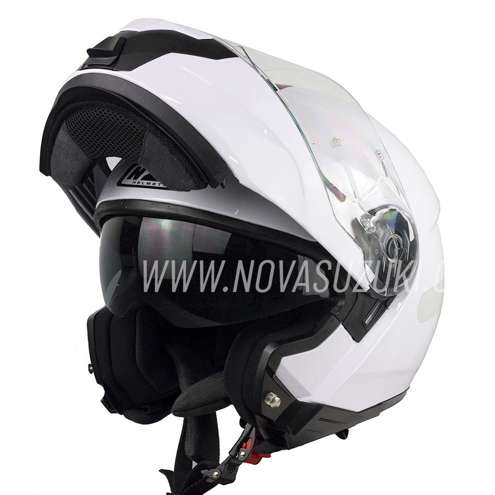 Capacete NZI Combi 2 Duo Branco Escamoteável Com Viseira Solar  - Nova Suzuki Motos e Acessórios