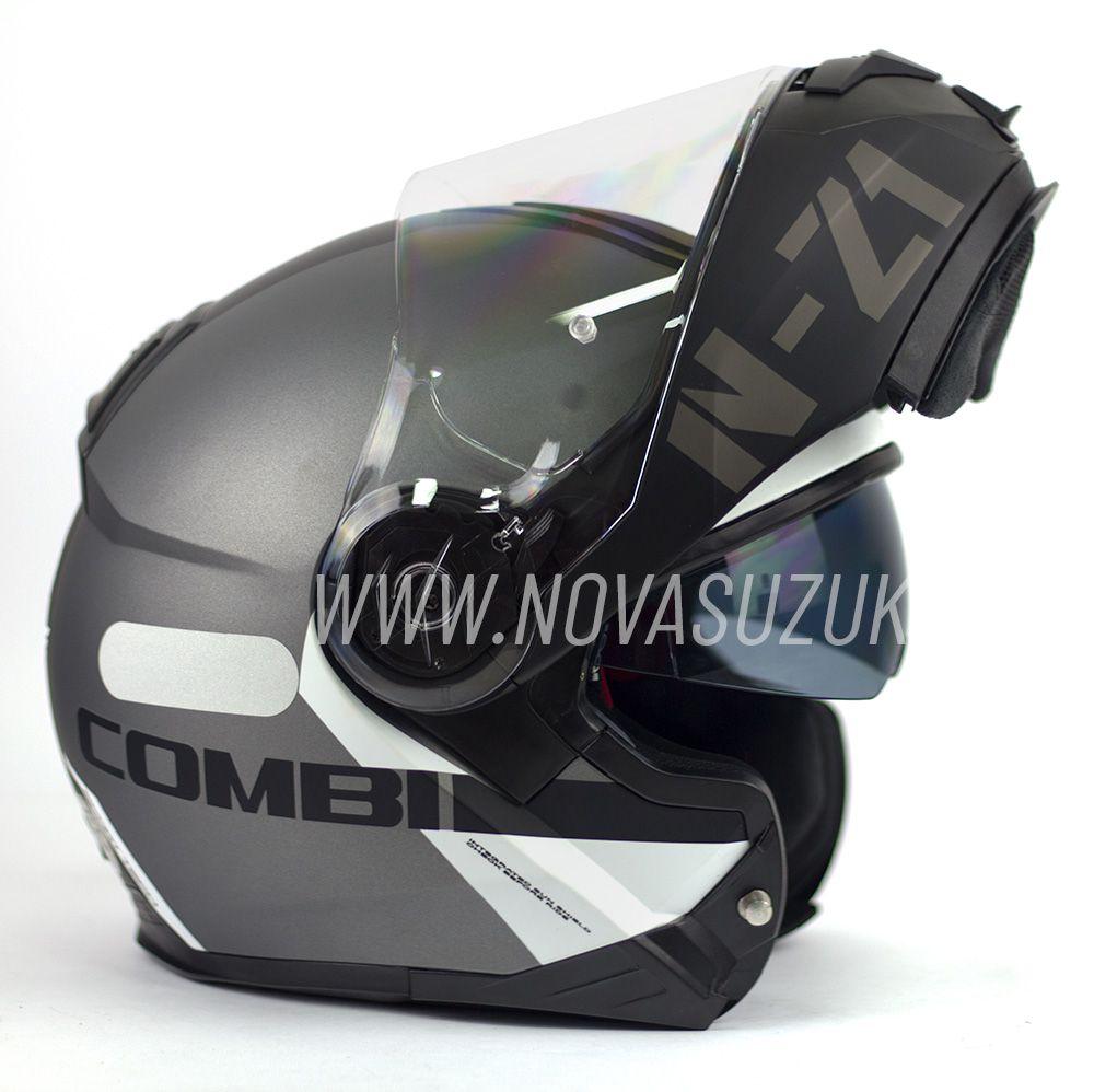 Capacete NZI Combi 2 Duo Flydeck Antracite Escamoteável Com Viseira Solar  - Nova Suzuki Motos e Acessórios