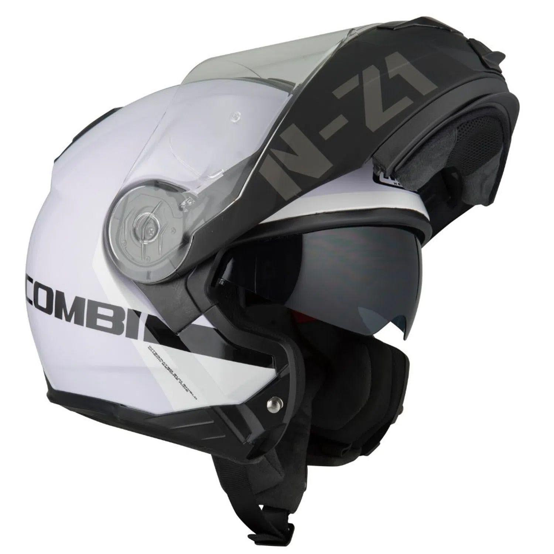 Capacete NZI Combi 2 Duo Flydeck Branco/Preto Escamoteável Com Viseira Solar (Force)  - Nova Suzuki Motos e Acessórios