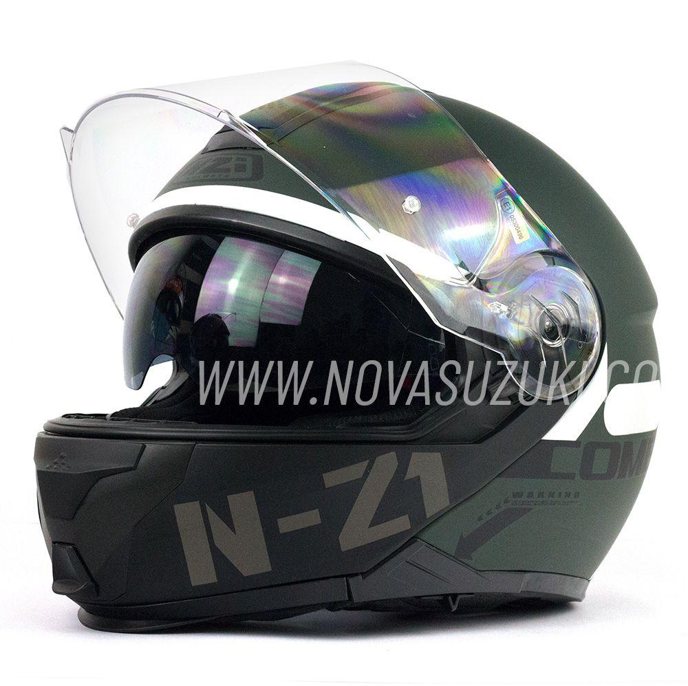 Capacete NZI Combi 2 Duo Flydeck Verde Fosco Escamoteável Com Viseira Solar  - Nova Suzuki Motos e Acessórios