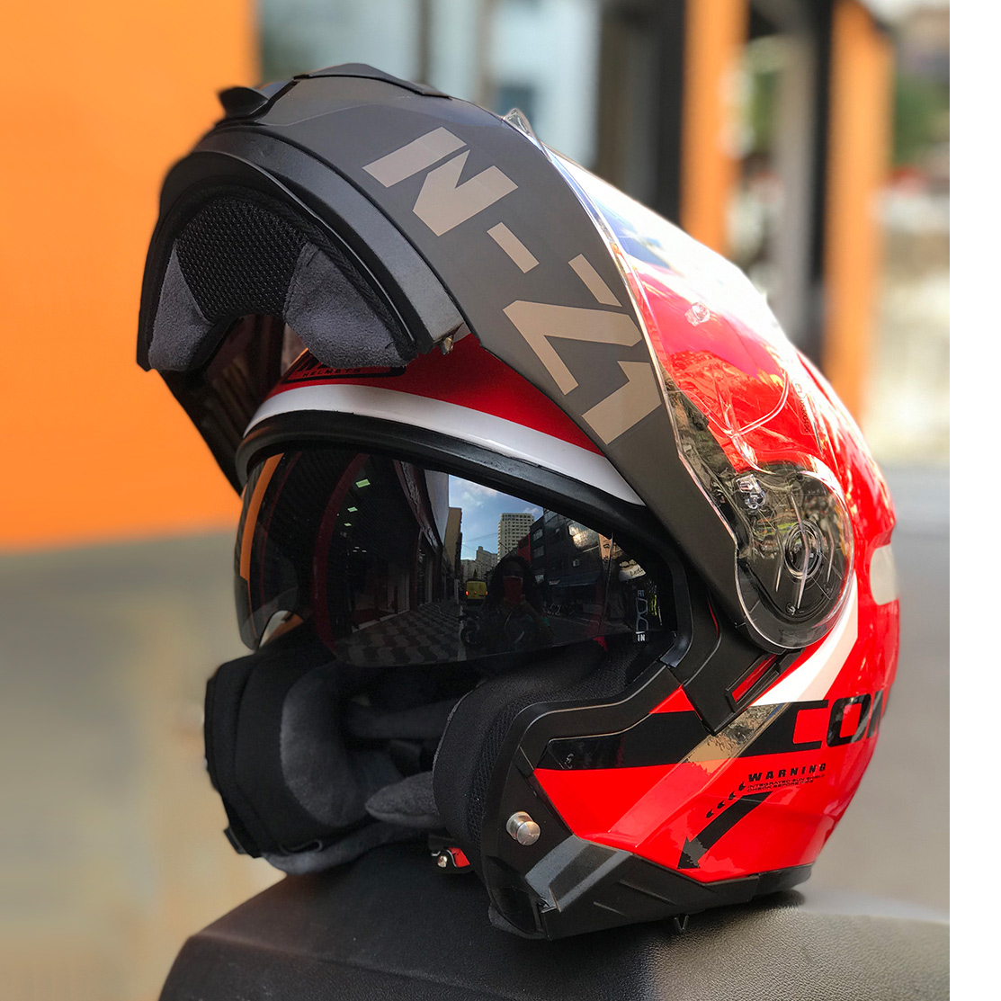 Capacete NZI Combi 2 Duo Flydeck Vermelho Escamoteável Com Viseira Solar -  (Force)  - Nova Suzuki Motos e Acessórios