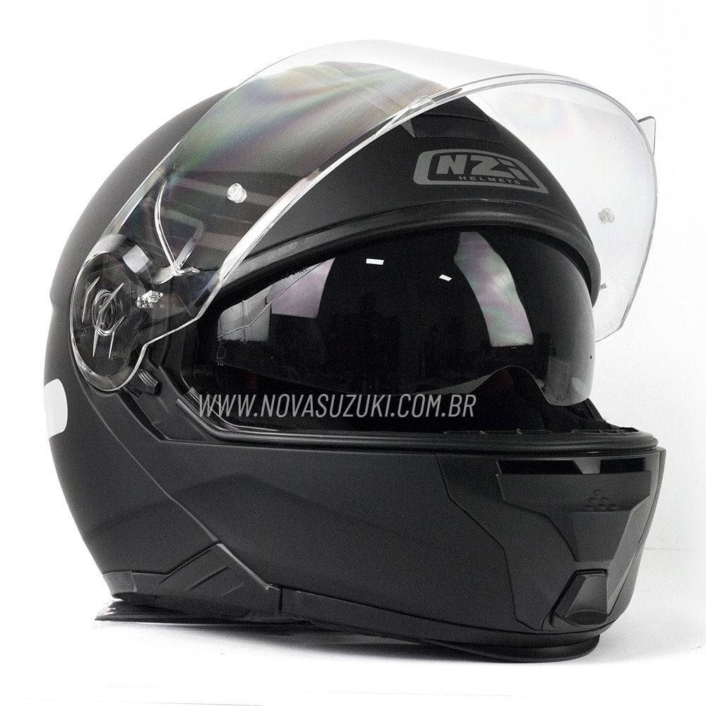Capacete NZI Combi 2 Duo Preto Fosco Escamoteável Com Viseira Solar  - Nova Suzuki Motos e Acessórios