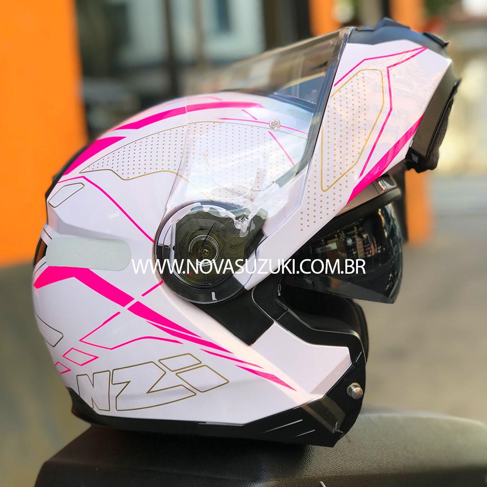 Capacete NZI Combi 2 Duo Sword Branco/Rosa Escamoteável Com Viseira Solar (Force)  - Nova Suzuki Motos e Acessórios