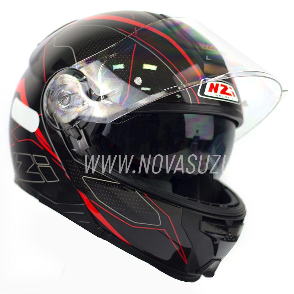 Capacete NZI Combi 2 Duo Sword Preto/Vermelho Escamoteável Com Viseira Solar  - Nova Suzuki Motos e Acessórios