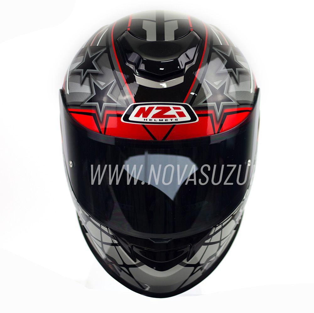 Capacete NZI Fusion Flechas Preto/Vermelho/Antracite  - Nova Suzuki Motos e Acessórios