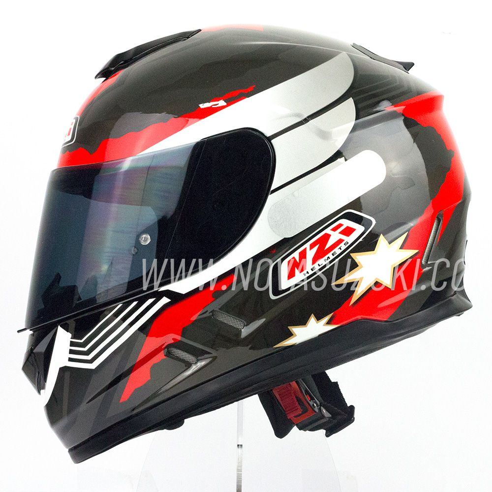 Capacete NZI Fusion Mick Antracite/Preto/Vermelho  - Nova Suzuki Motos e Acessórios