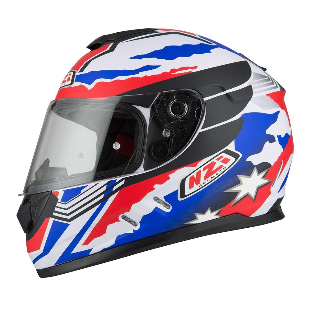 Capacete NZI Fusion Mick Branco/Azul/Vermelho  - Nova Suzuki Motos e Acessórios
