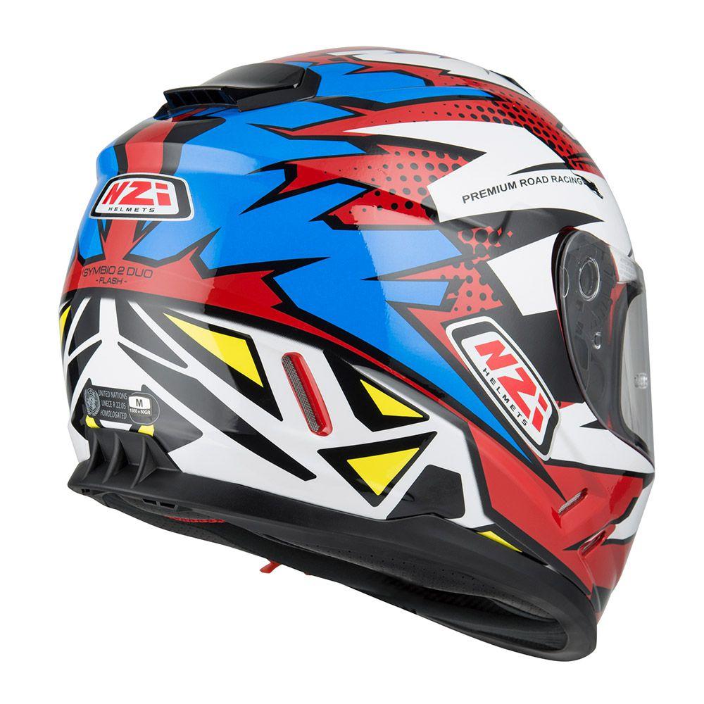 Capacete NZI Symbio 2 Duo Flash Vermelho/Azul/Branco Com Viseira Solar  - Nova Suzuki Motos e Acessórios