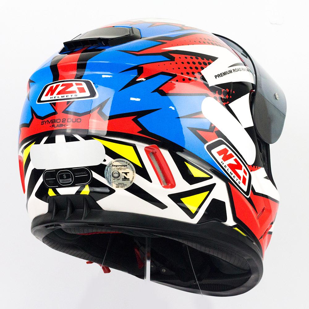 Capacete NZI Symbio 2 Duo Flash Vermelho/Azul/Branco Com Viseira Solar - Super Queima  - Nova Suzuki Motos e Acessórios