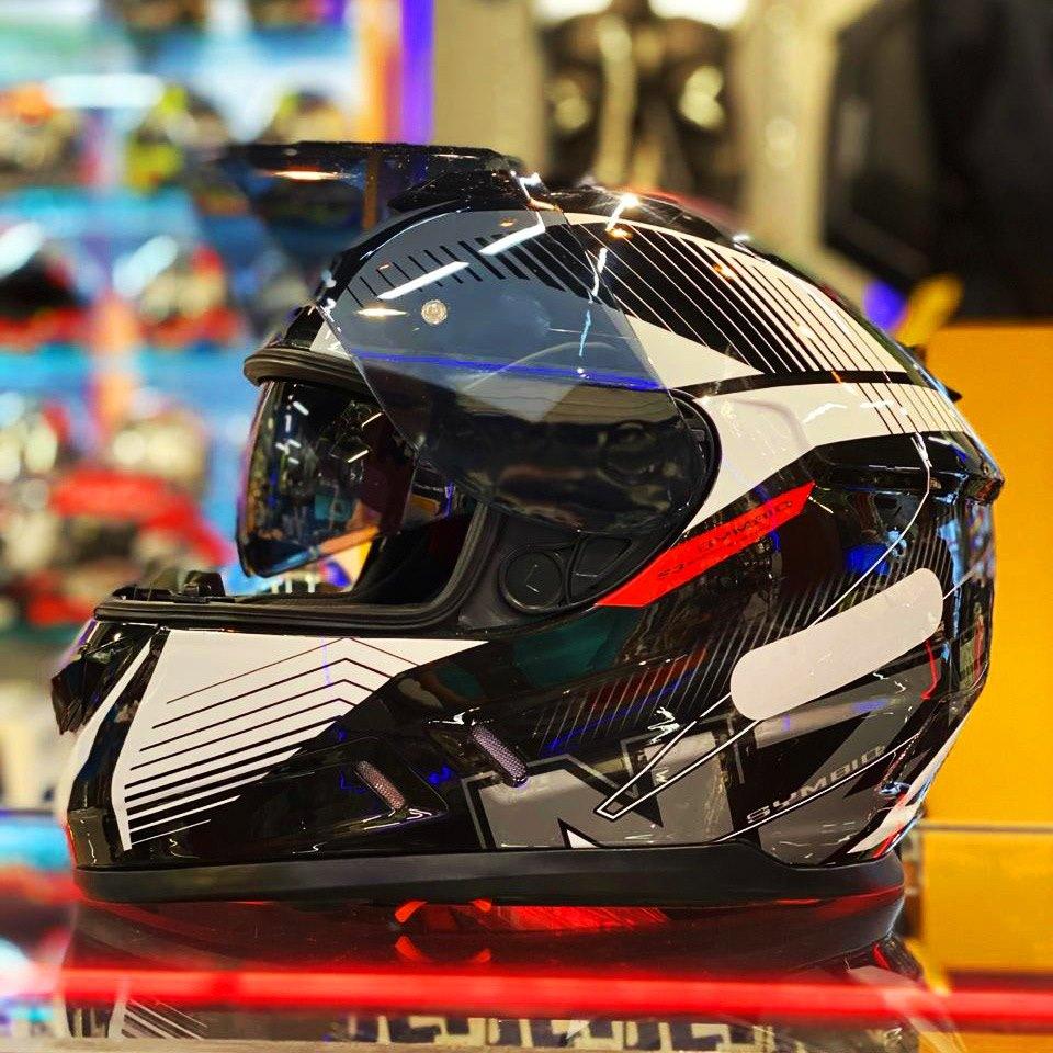 Capacete NZI Symbio 2 Duo Indy Preto/Branco Com Viseira Solar - Super Queima  - Nova Suzuki Motos e Acessórios