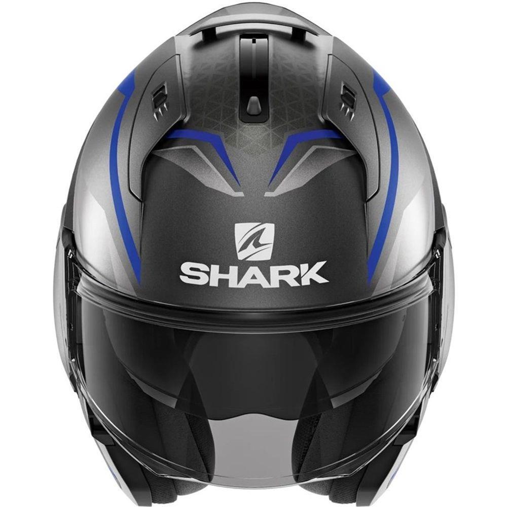 Capacete Shark Evo One ES YARI MAT ABS Cinza/Azul Escamoteável/Articulado  - Nova Suzuki Motos e Acessórios