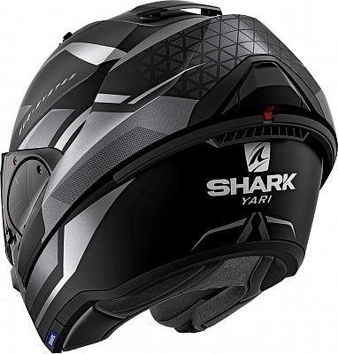 Capacete Shark Evo One ES YARI MAT KAA Preto/Cinza Claro Escamoteável/Articulado  - Nova Suzuki Motos e Acessórios