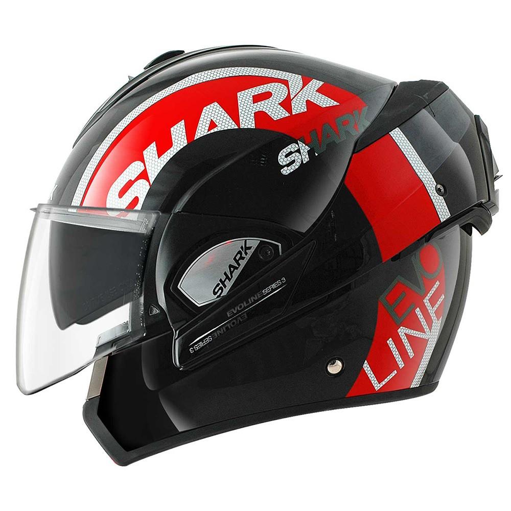 Capacete Shark Evoline Serie 3 Drop KRW Vermelho Escamoteável  - Nova Suzuki Motos e Acessórios
