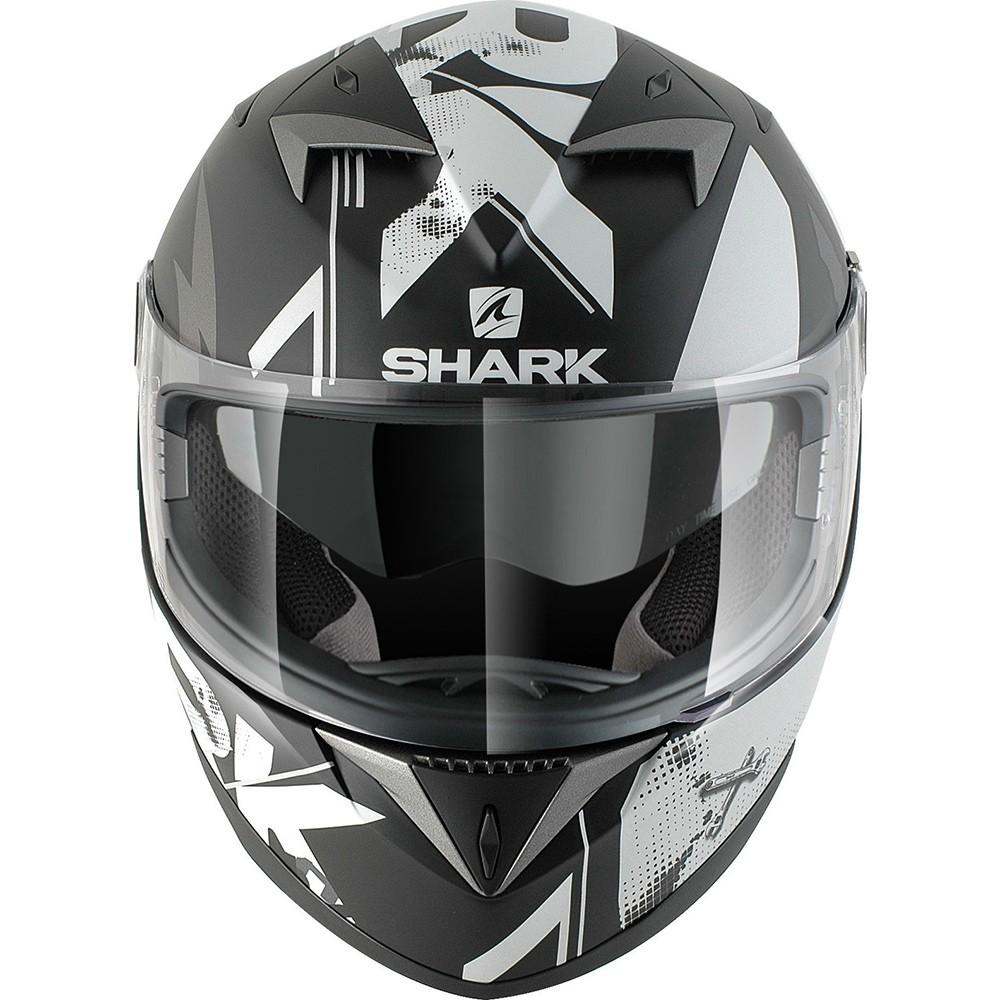Capacete Shark S700 Trax Matt KSA Branco Com Viseira Solar - Só 61/62  - Nova Suzuki Motos e Acessórios