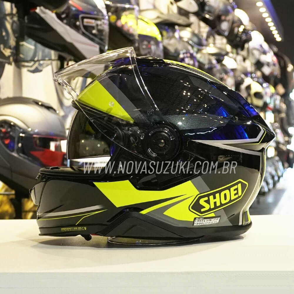 Capacete Shoei GT-Air II Affair TC-3 Amarelo C/ Viseira Solar e Pinlock Anti-Embaçante - GT-Air 2   - Nova Suzuki Motos e Acessórios