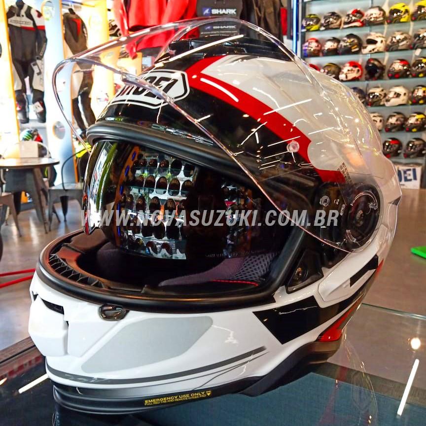 Capacete Shoei GT Air II Affair TC-6 Branco/Vermelho/Preto C/ Viseira Solar e Pinlock Anti-Embaçante - GT Air 2  - Nova Suzuki Motos e Acessórios