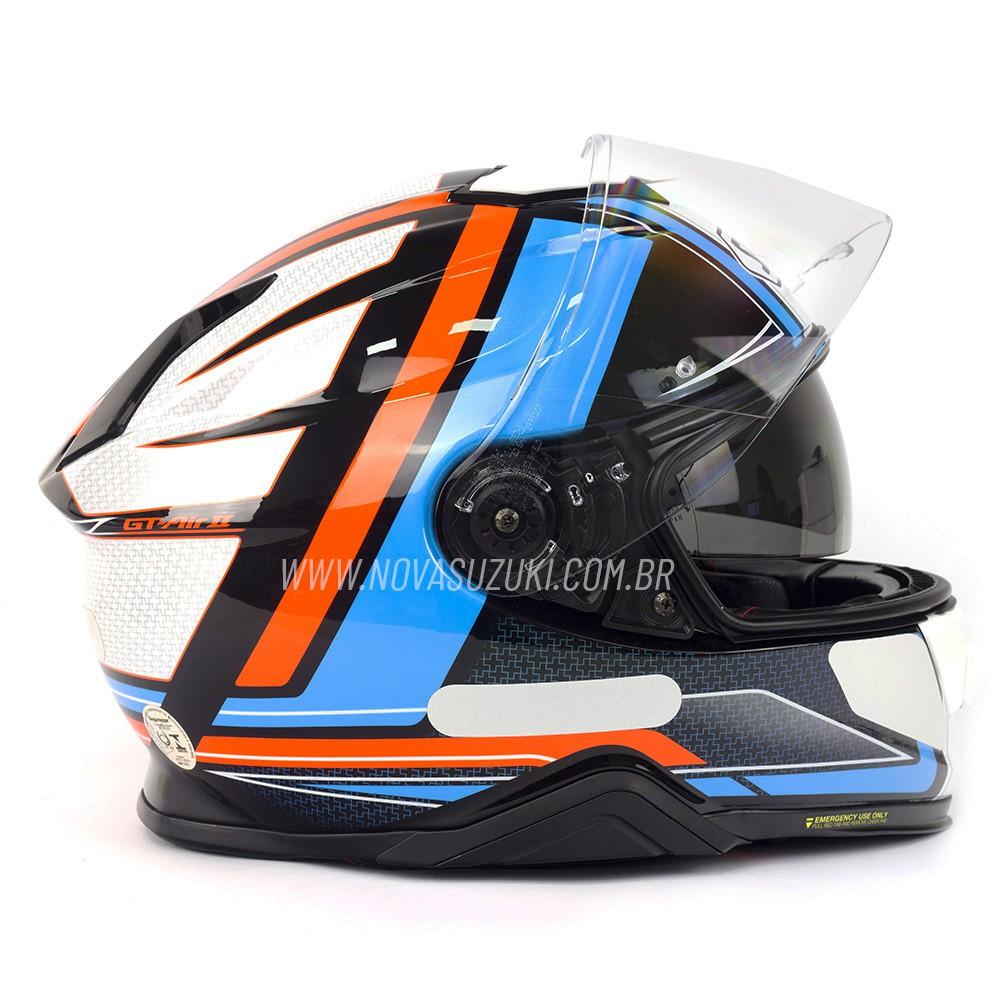 Capacete Shoei GT-Air II Haste TC-2 Azul /Vermelho C/ Viseira Solar e Pinlock Anti-Embaçante - GT-Air 2   - Nova Suzuki Motos e Acessórios