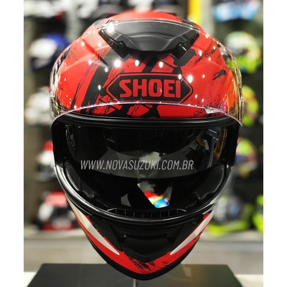 Capacete Shoei GT-Air II Ogre TC-1 Preto/Vermelho C/ Viseira Solar e Pinlock Anti-Embaçante - GT-Air 2   - Nova Suzuki Motos e Acessórios