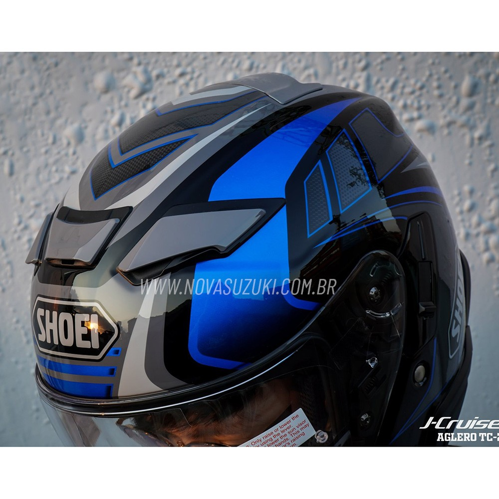 Capacete Shoei J-Cruise 2 Aglero TC-2 Azul Aberto c/ Viseira Solar  - Nova Suzuki Motos e Acessórios