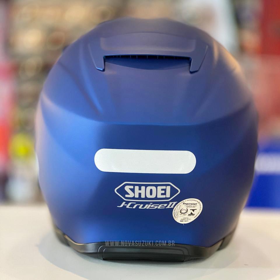 Capacete Shoei J-Cruise 2 Azul Fosco Aberto c/ Viseira Solar  - Nova Suzuki Motos e Acessórios