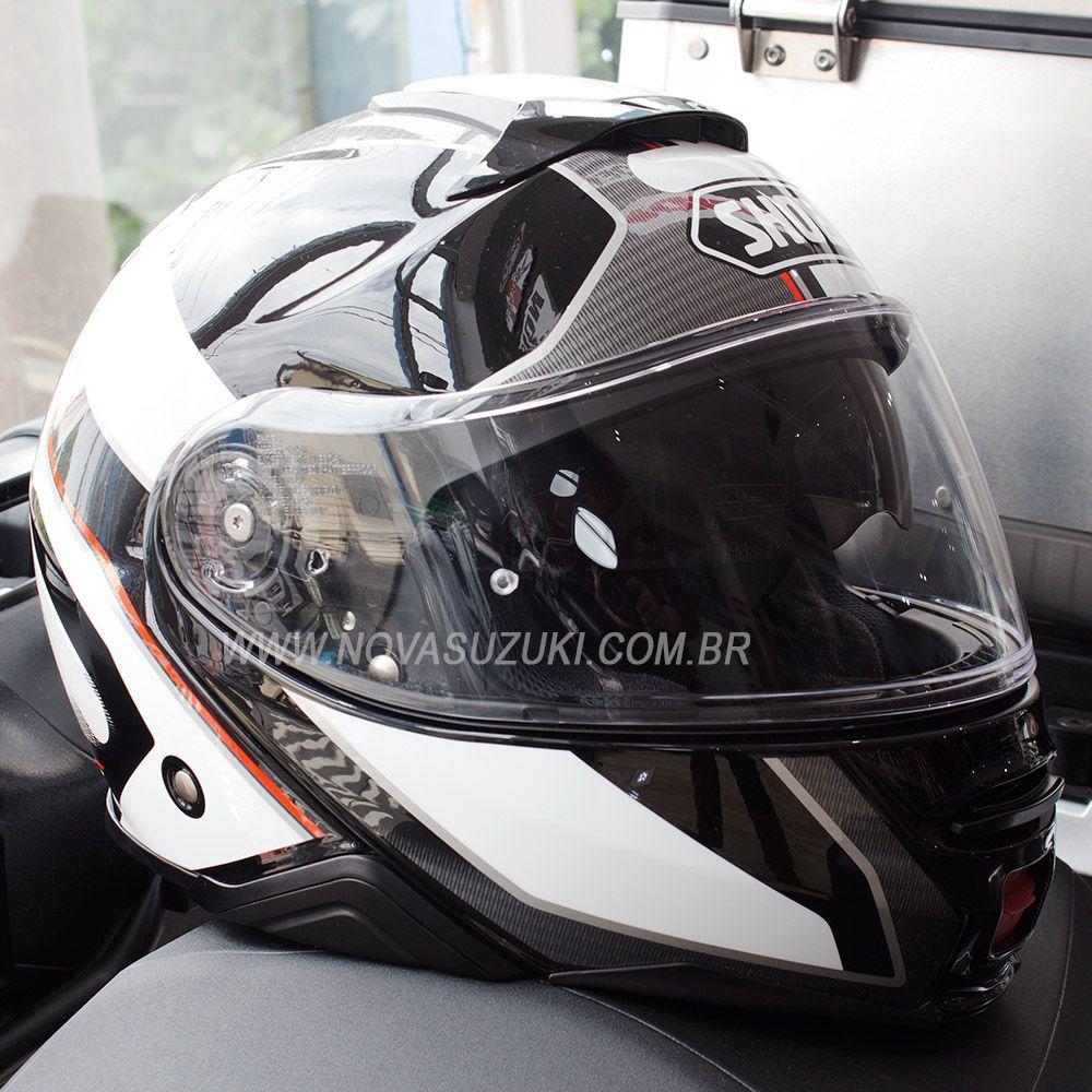 Capacete Shoei Neotec 2 Excursion TC-6 Branco Escamoteável/Articulado  - Nova Suzuki Motos e Acessórios