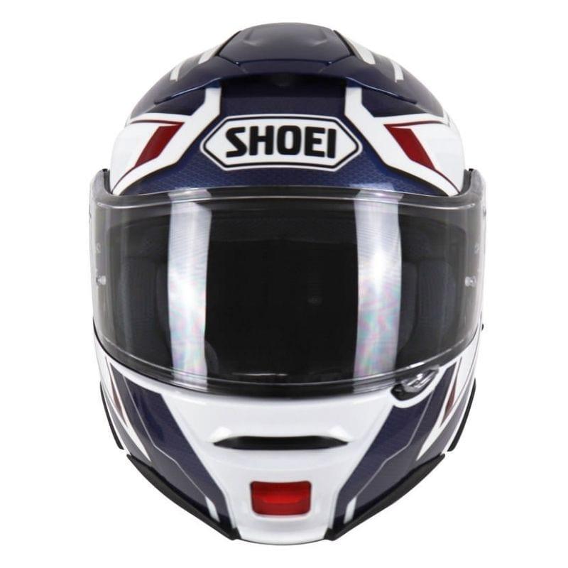 Capacete Shoei Neotec 2 Respect TC-10 Branco/Azul Escamoteável/Articulado  - Nova Suzuki Motos e Acessórios