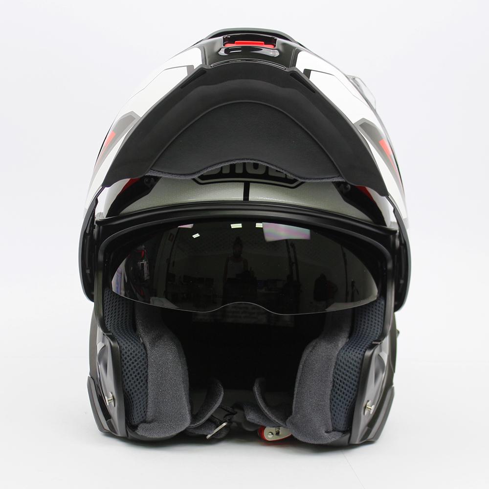 Capacete Shoei Neotec 2 Respect TC-1 Branco/Vermelho/Preto Escamoteável/Articulado  - Nova Suzuki Motos e Acessórios