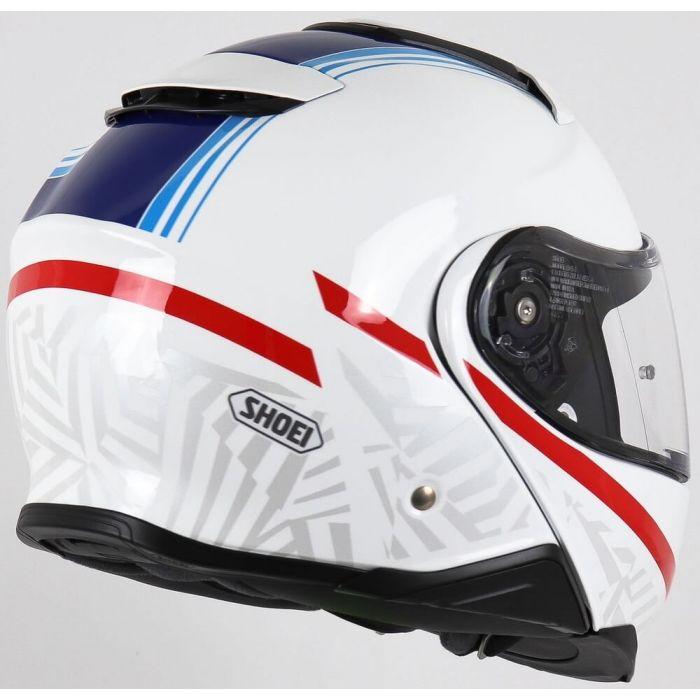 Capacete Shoei Neotec 2 Separator TC-10 Branco/Azul Escamoteável/Articulado  - Nova Suzuki Motos e Acessórios
