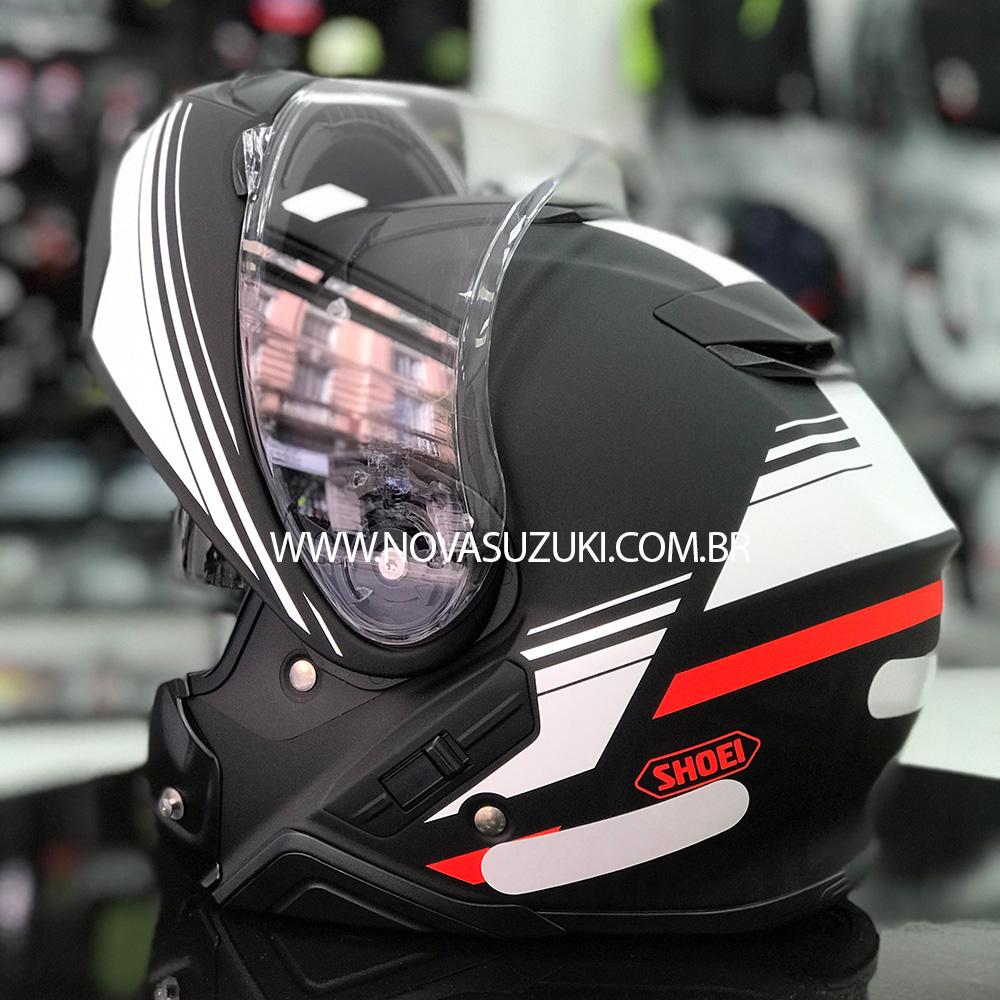 Capacete Shoei Neotec 2 Separator TC-5 Preto/Branco/Vermelho Escamoteável/Articulado  - Nova Suzuki Motos e Acessórios