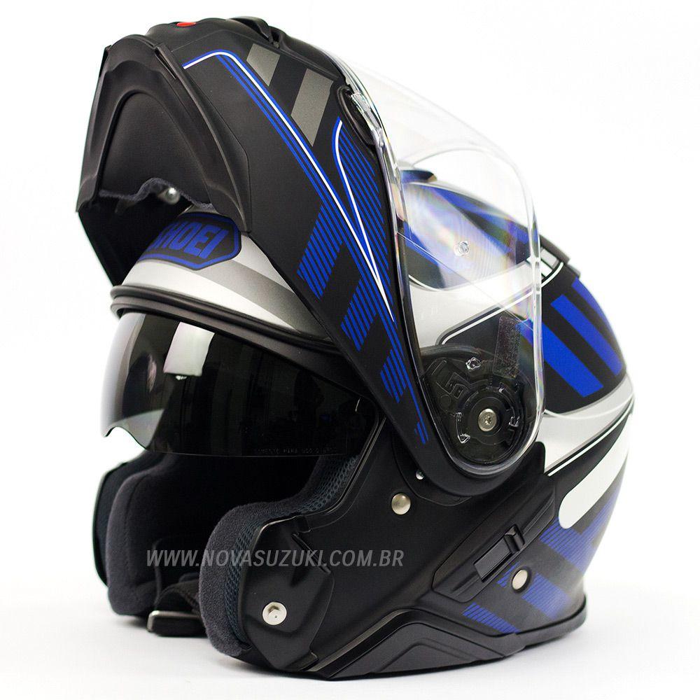 Capacete Shoei Neotec 2 Splicer TC-2 Azul Escamoteável/Articulado  - Nova Suzuki Motos e Acessórios