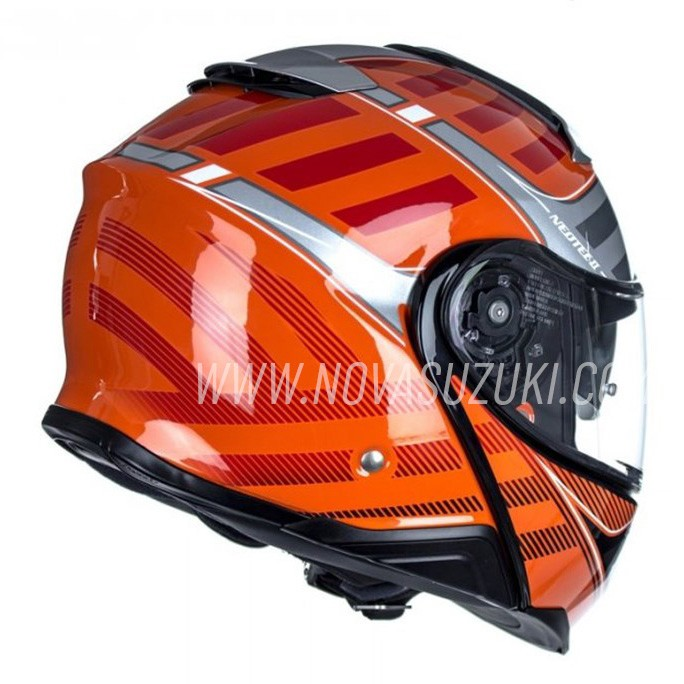 Capacete Shoei Neotec 2 Splicer TC-8 Laranja/Preto Escamoteável/Articulado  - Nova Suzuki Motos e Acessórios