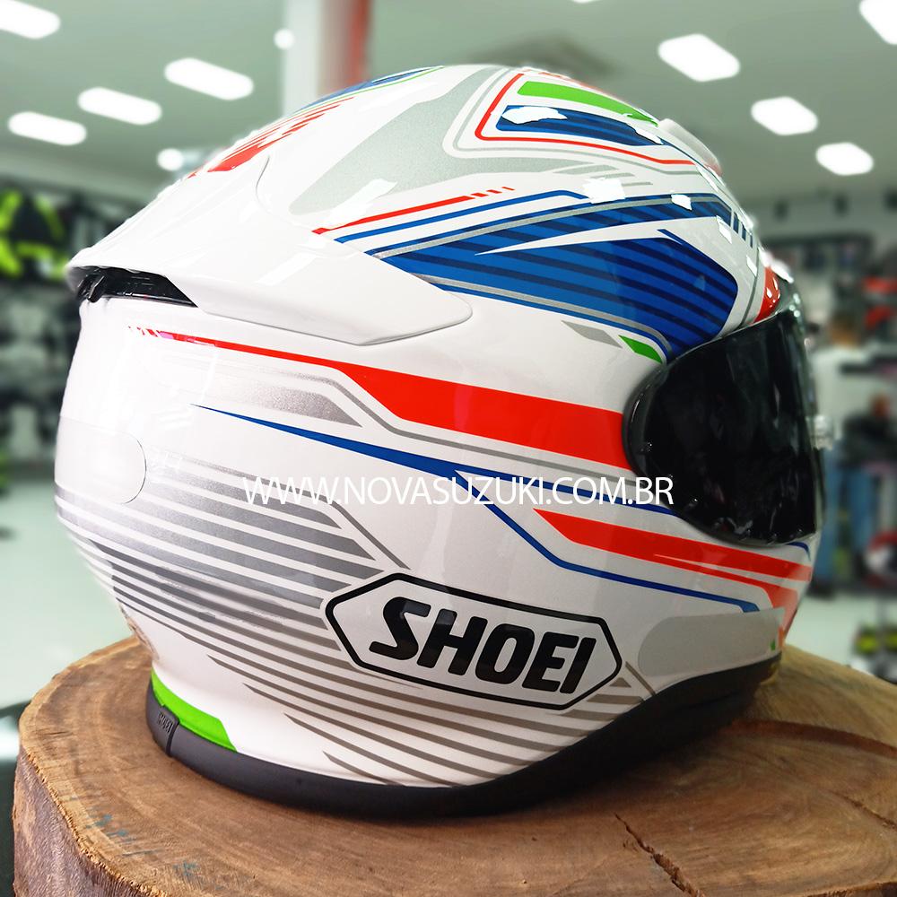 Capacete Shoei NXR Stab TC-2 Branco/Azul para Esportivas  - Nova Suzuki Motos e Acessórios