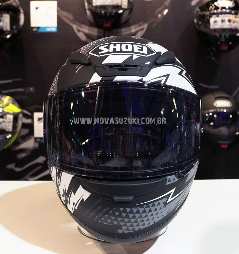 Capacete Shoei NXR Variable TC-5 Preto/Branco para Esportivas  - Nova Suzuki Motos e Acessórios