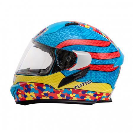 Capacete Tutto Racing Multicolor c/Óculos Interno  - Nova Suzuki Motos e Acessórios