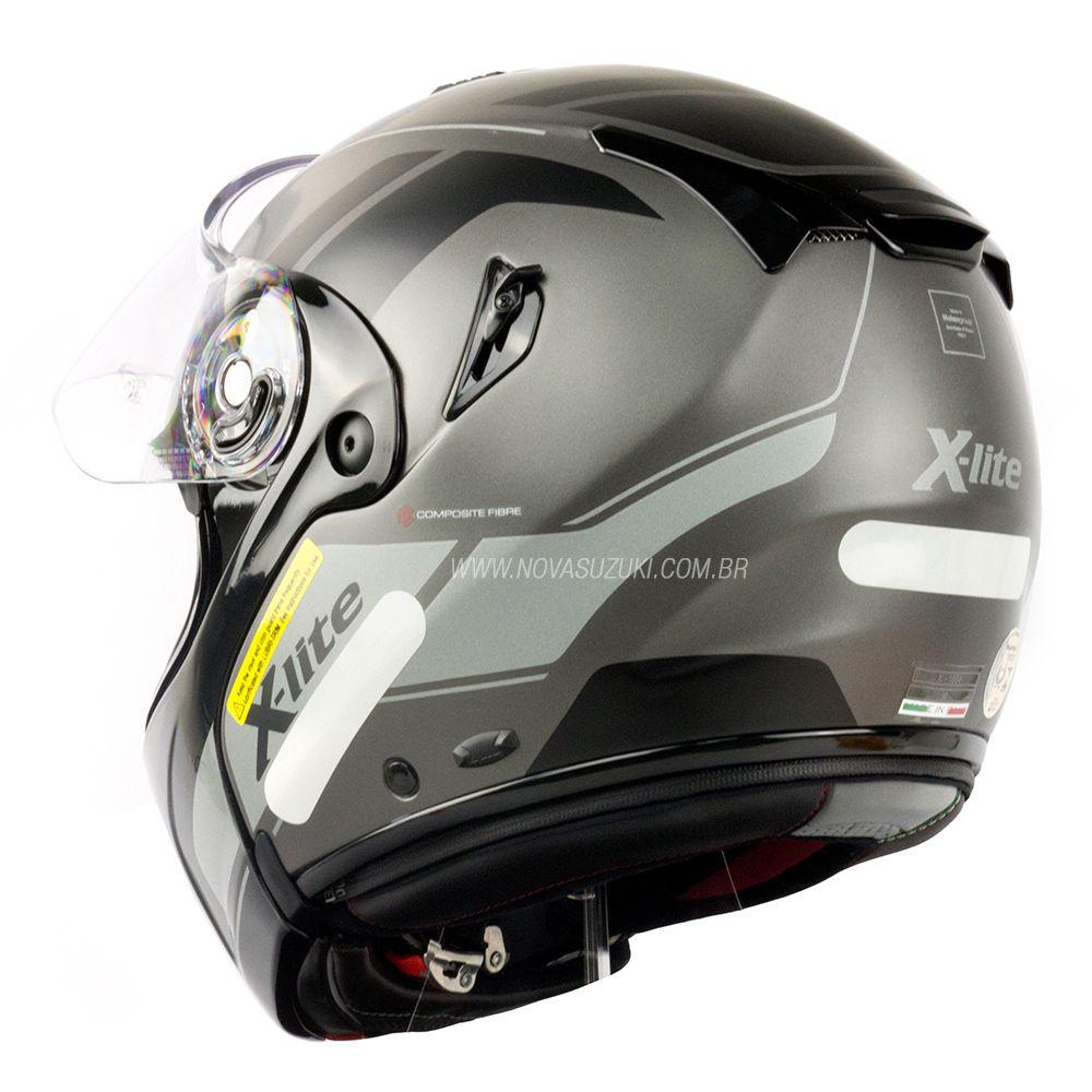 Capacete X-Lite X-1004 Charismatic Matte Silver - Escamoteável / Articulado  - Nova Suzuki Motos e Acessórios