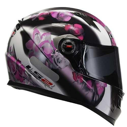 Capacete LS2 FF358 Flowers Rosa  - Nova Suzuki Motos e Acessórios