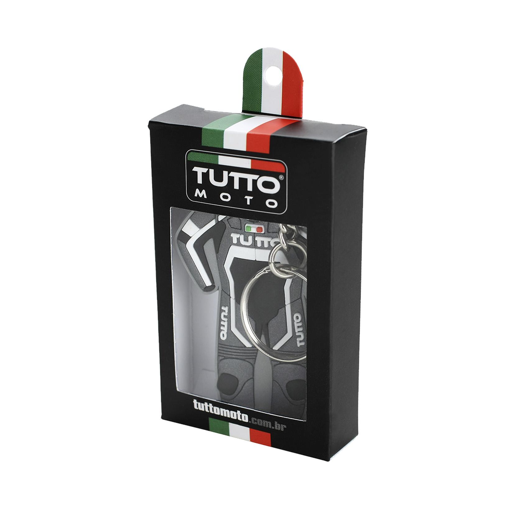 Chaveiro Tutto Macacão Cinza/Branco Queima  - Nova Suzuki Motos e Acessórios